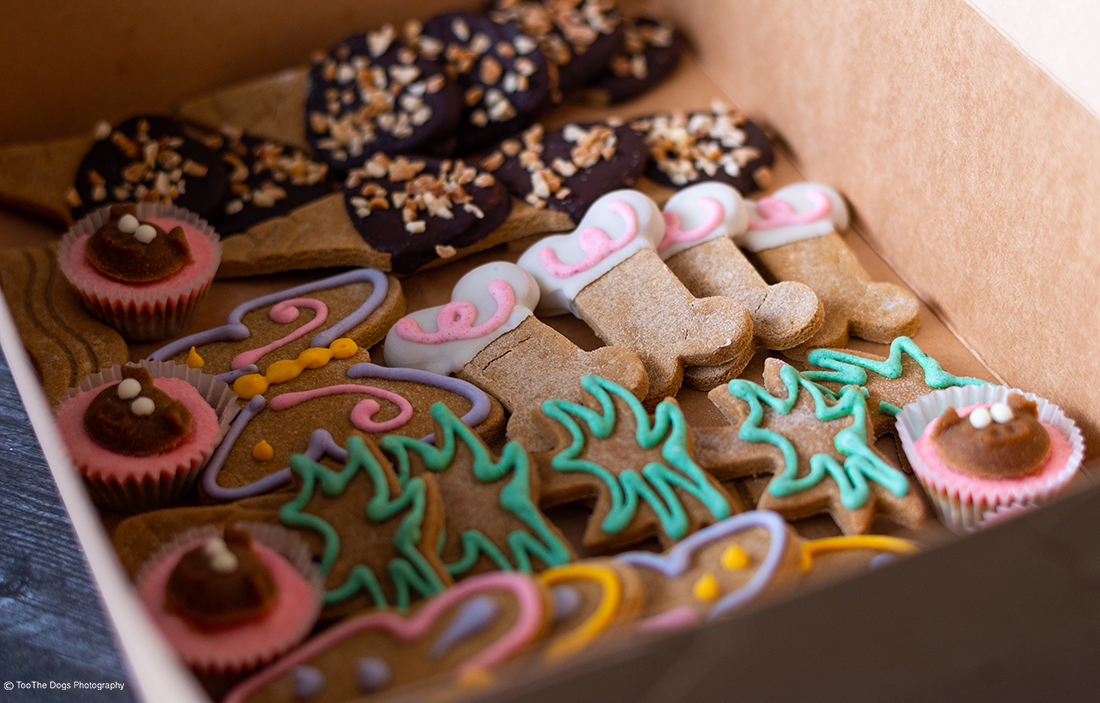 picture of a box of dog cookies from the Naked Dog Bistro in Laguna Beach